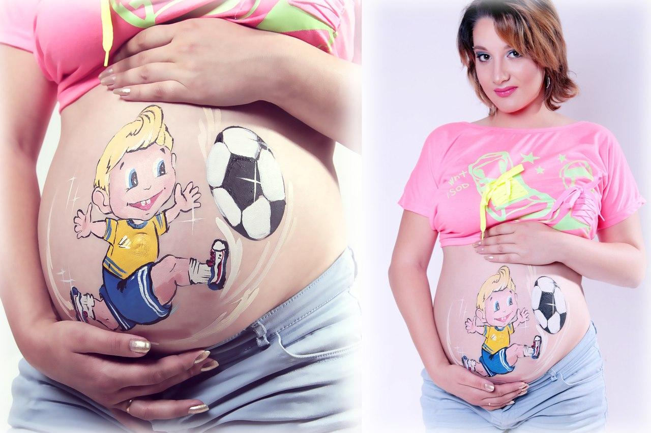 Рисунки на животе у беременных, прикольные фото, рисунок на животиках