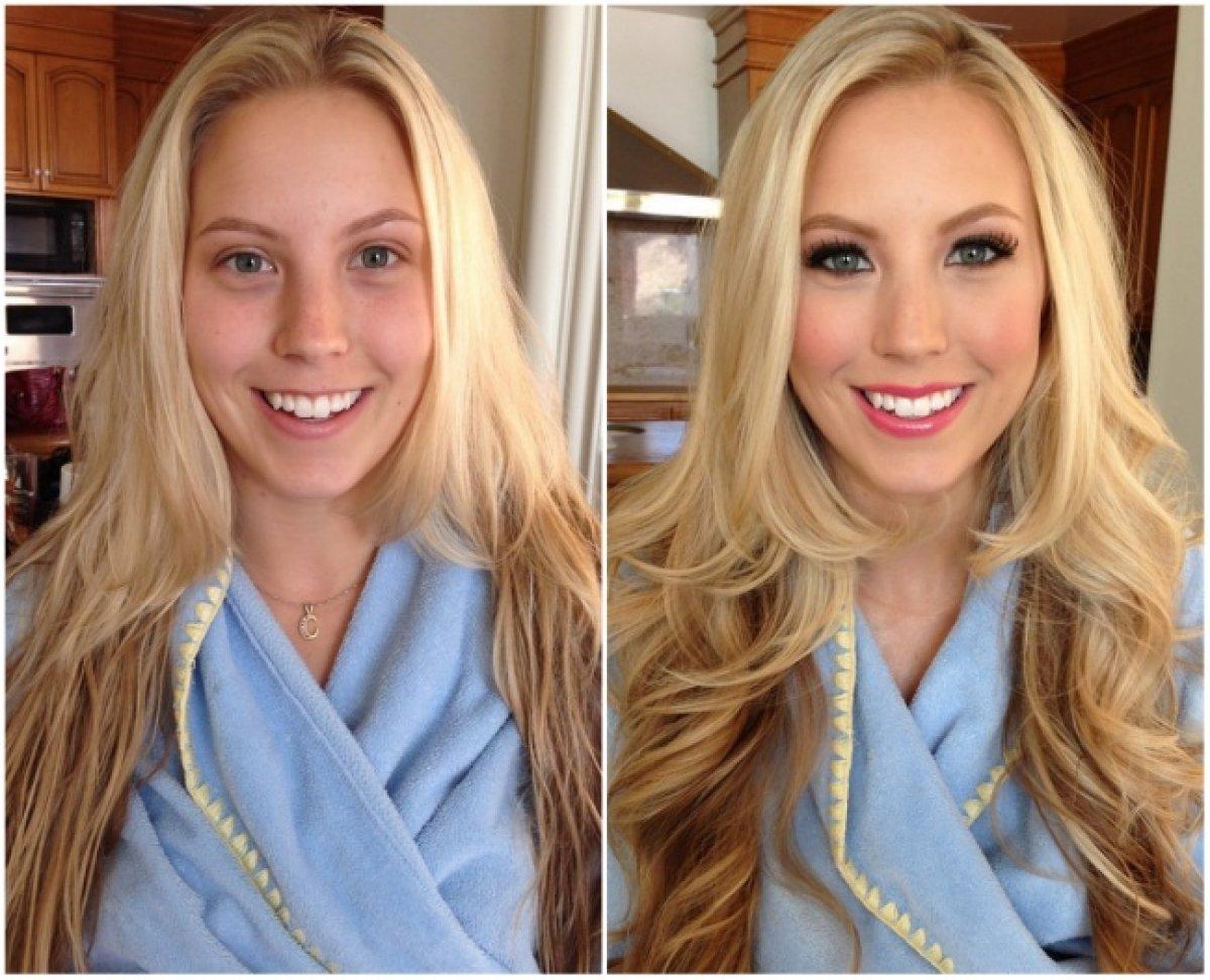 Фото блондинок до и после макияжа