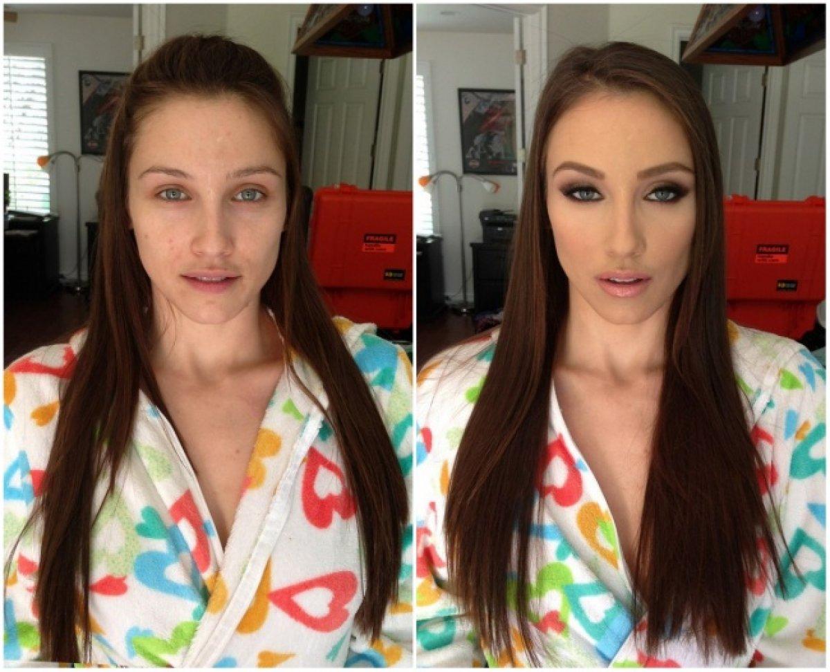 Девушки до макияжа и после.фото