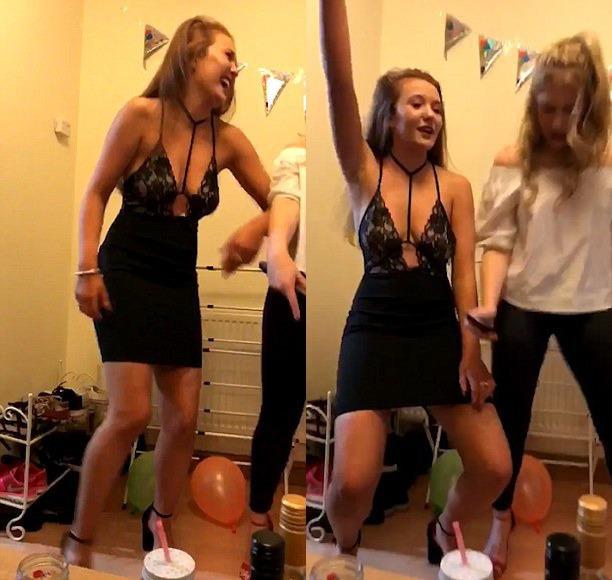 Девушка села наштырь впроцессе сексуального танца