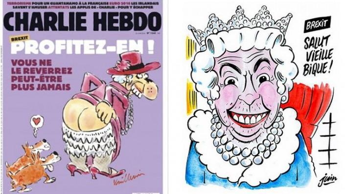 Charlie Hebdo высмеял Brexit пошлой карикатурой и обозвал Елизавету II