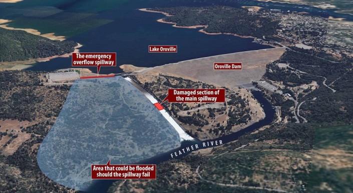 ВКалифорнии из-за разрушения плотины эвакуируют 130 тыс. человек