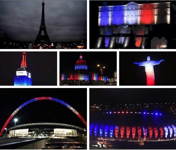В знак соболезнования с связи с терактами в ночь на 14 ноября в Париже, многие здания по всему миру окрашены в цвета французского флага.