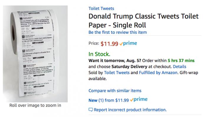 Amazon продавал туалетную бумагу с твитами Трампа