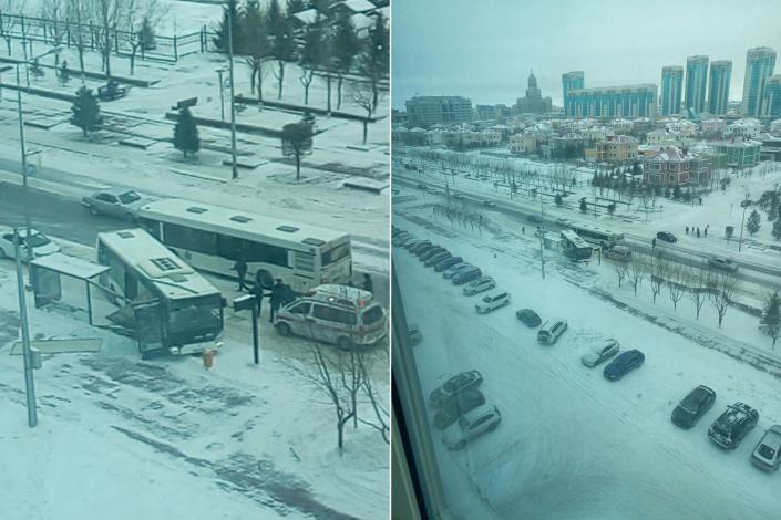Встолице Казахстана случилось столкновение легковушки с 2-мя автобусами