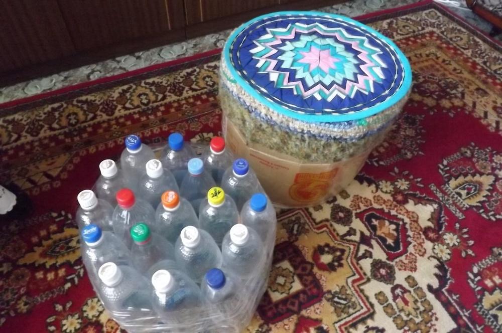 Табурет с бутылок пластиковых своими руками