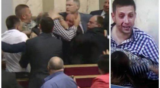 Украинские депутаты устроили мордобой в прямом эфире