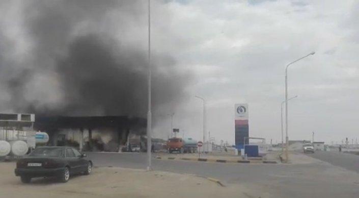 Пожар на АЗС в Жанаозене заснял очевидец