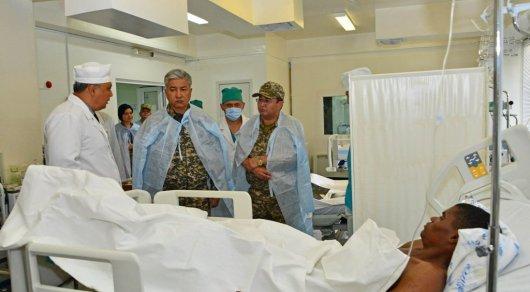 Тасмагамбетов навестил военнослужащих из Анголы, пострадавших во время ЧП в Отаре