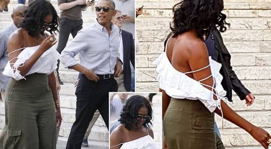 Итальянские каникулы: Мишель Обама сразила кокетливым нарядом, обнажающим плечи