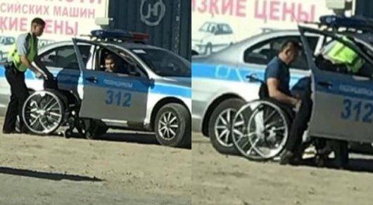 Растрогавший жителей Атырау полицейский рассказал, как подвез инвалида