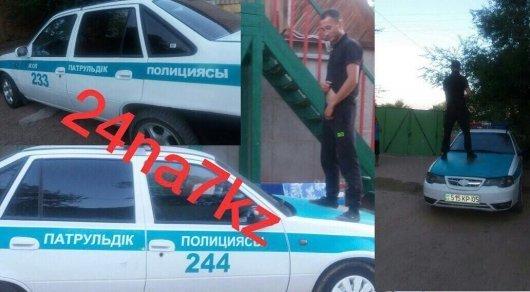 Писающий на полицейскую машину мужчина задержан - ДВД Алматинской области