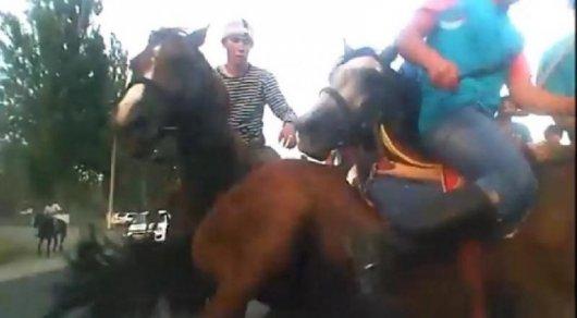 Играющие в кокпар на дороге всадники повредили машину алматинки