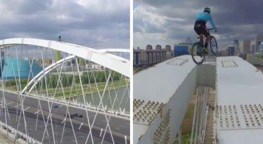 Смертельные трюки на вершине моста: Итальянский экстремал выложил видео из Астаны