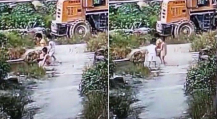 В Китае две девочки пытались спасти тону ...