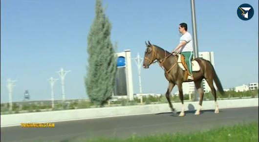 Президент Туркменистана осмотрел новостройки Ашхабада верхом наконе— Хит социальных сетей