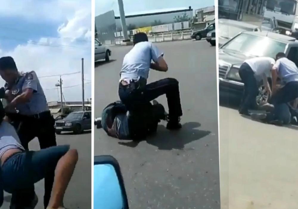 Полицейский эффектно задержал дебошира в Таразе