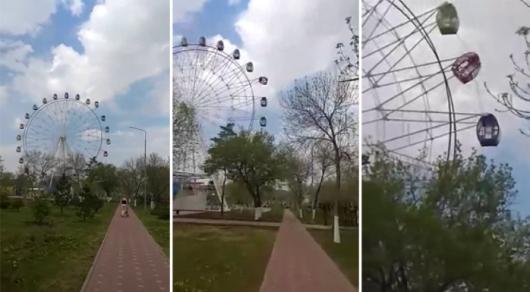 На новом колесе обозрения в Рудном перевернулась кабинка (видео)