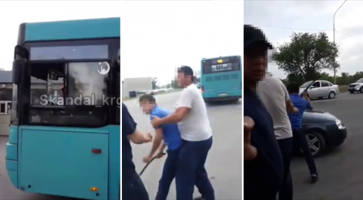 Водитель автобуса набросился с кулаками на карагандинца и разбил его машину (ВИДЕО)