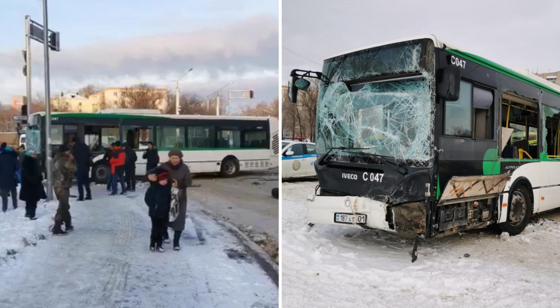 Картинки по запросу В Нур султане автобус столкнулся с трактором