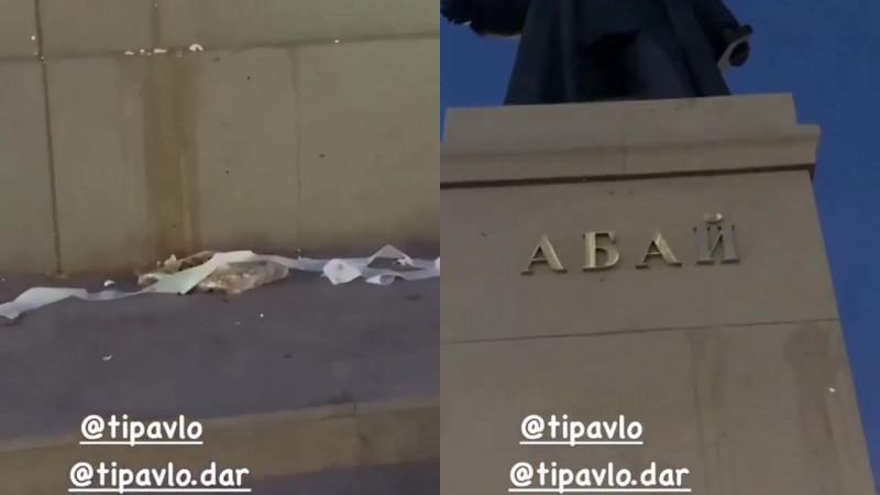 Памятник Абаю закидали яйцами и туалетной бумагой в Павлодаре