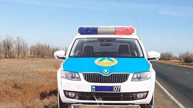 Макет полицейской машины украли с трассы в ЗКО